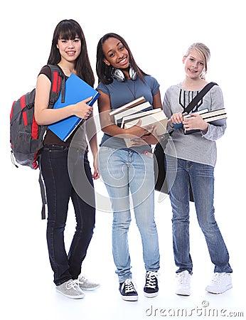Happy teenage ethnic student girls in education