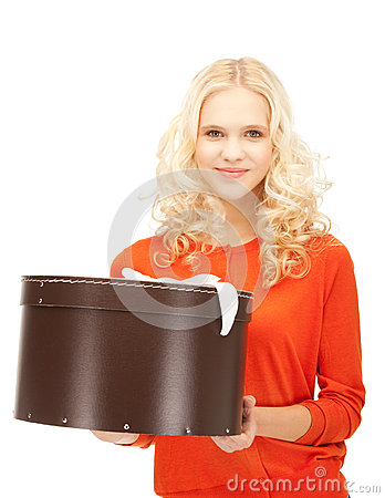 Happy teenage girl with gift box Stock Photo