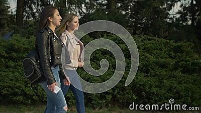 Happy teenage girls enjoying nature in parkland stock footage