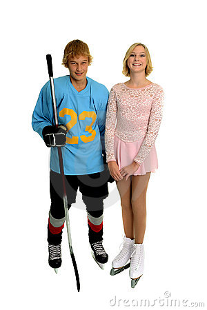 Happy Teenage Hockey and Figure Skater
