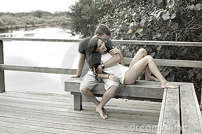 Happy teenager couple