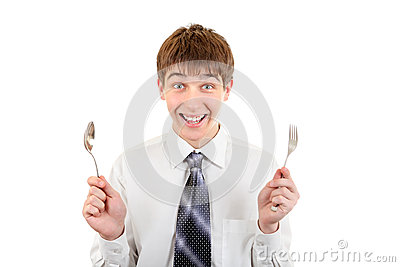 Happy Teenager with Cutlery