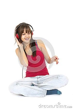 Happy teenager with headphones