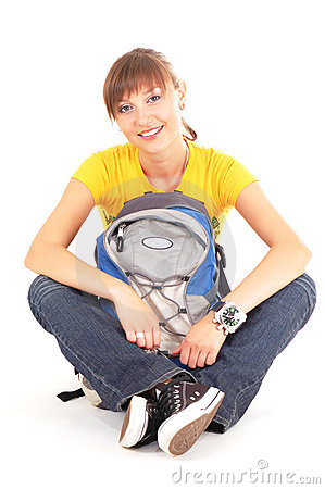 Happy teenager with rucksack