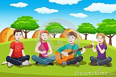 Happy teenagers having fun