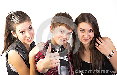 Happy teenagers shows thumbs up