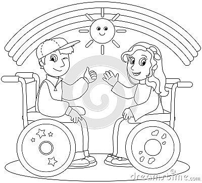 Happy teenagers on wheelchair vector