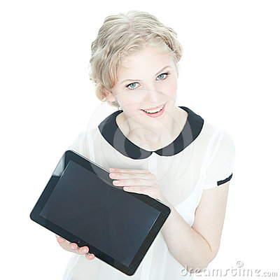 Happy teenege girl with tablet pc computer