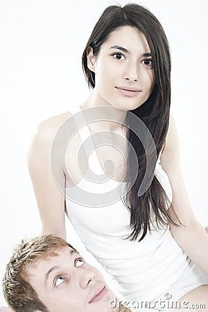 Happy teens couple