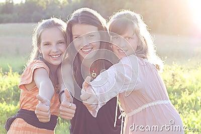 Happy teens outdoors.
