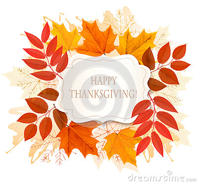 Happy Thanksgiving background with colorful autumn leaves Vector Illustration