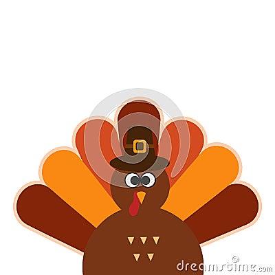 Happy Thanksgiving Cartoon Turkey on white background Thanksgiving poster. Stock Photo