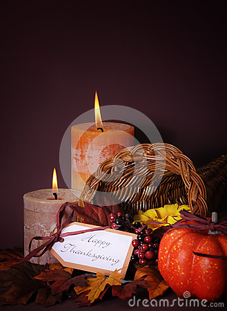 Free Happy Thanksgiving Cornucopia Wicker Basket Vertical. Royalty Free Stock Images - 45934679