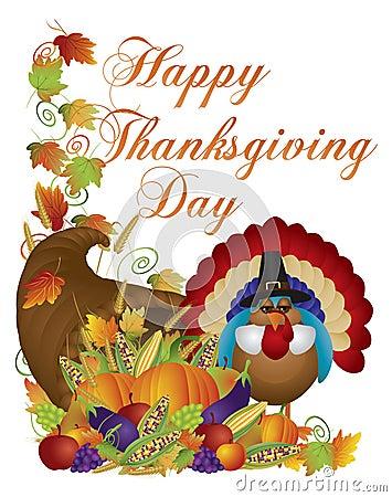 Free Happy Thanksgiving Day Cornucopia Turkey Illustrat Royalty Free Stock Image - 35189516