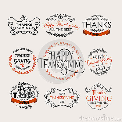 Free Happy Thanksgiving Day Logotype, Badge And Icon Set Royalty Free Stock Photo - 61239365