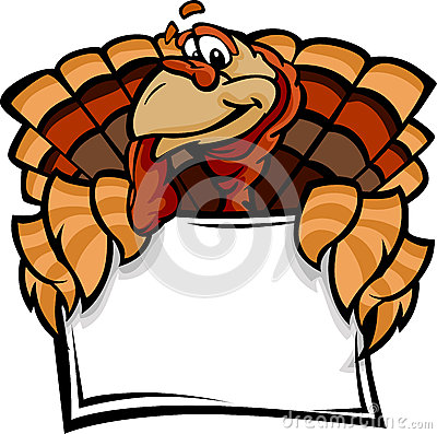 Happy Thanksgiving Holiday Turkey Holding Sign