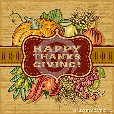 Free Happy Thanksgiving Retro Card Royalty Free Stock Photos - 34504358