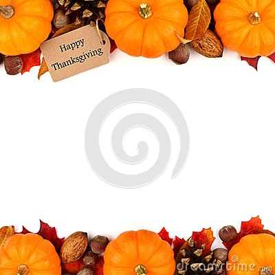 Free Happy Thanksgiving Tag With Autumn Double Border Over White Stock Image - 60299491