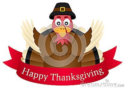 Happy Thanksgiving Turkey with Ribbon Vector Illustration