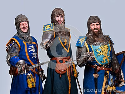 Happy three medieval knights