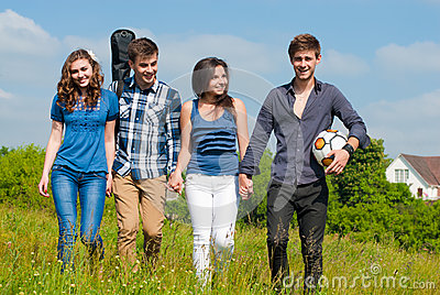 Happy time: group of Young people outdoors