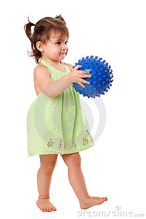 Free Happy Toddler Girl With Ball Stock Photo - 20342710
