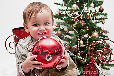Happy toddler in little Christmas sleigh