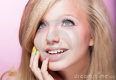Happy Toothy Smiling Woman - Blonde Hair