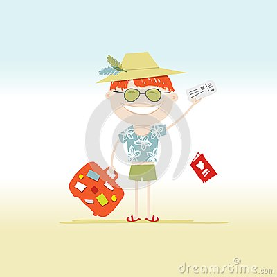 Happy tourist with tickets and suitcase for your
