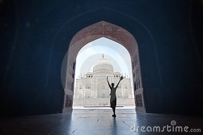 Happy traveler at Taj Mahal