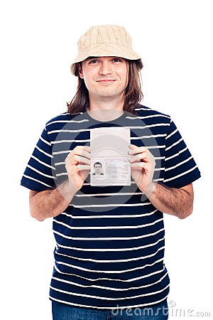 Happy traveller tourist man with passport