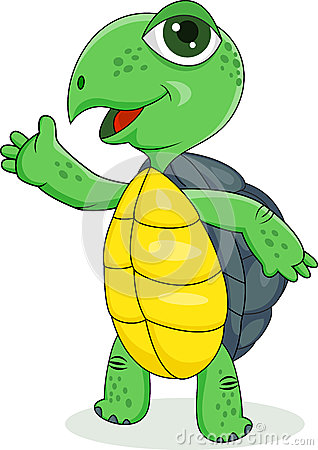 Happy turtle cartoon with hand waving