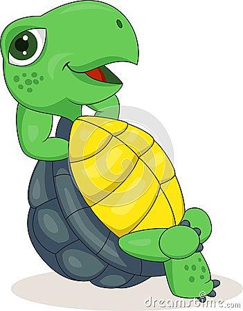 Happy turtle cartoon relaxing