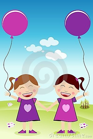 Happy Twins Hand in Hand with Balloons
