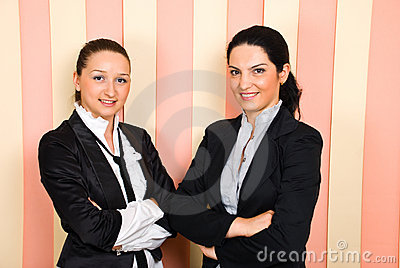 Happy two business women