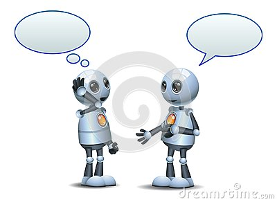 happy two droid little robot conversation on isolated white Vector Illustration