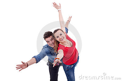 Happy two young people gesturing flying