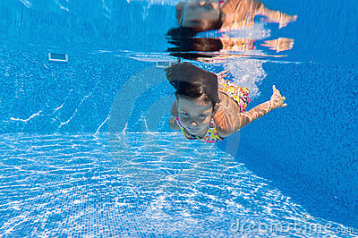Happy underwater kid in swimming pool