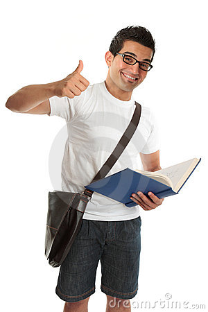 Happy university college student thumbs up