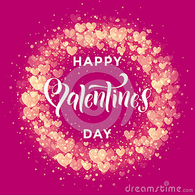 Free Happy Valentine Day Golden Hearts Pattern Greeting Card Royalty Free Stock Images - 84601749
