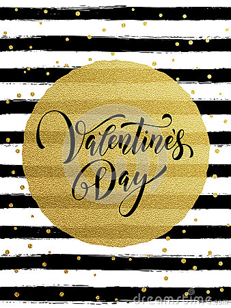 Free Happy Valentine Day Golden Striped Greeting Card Royalty Free Stock Photography - 84388337