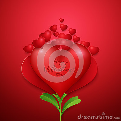Happy valentine`s day background with Heart shape flower Vector Illustration