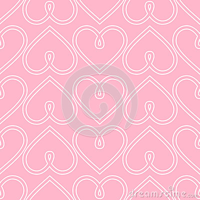 Happy Valentine's Day background. Pink seamless vector heart pattern. Vector Illustration