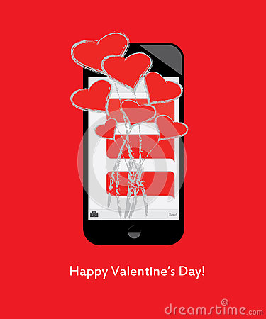 Free Happy Valentine S Day! Bouquet Of Hearts And Love From Text Messages On Mobile / Cell Phone Stock Photography - 65426422