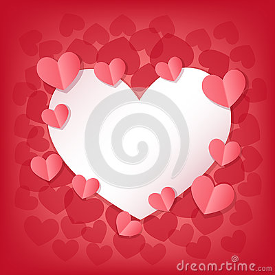 Free Happy Valentine`s Day Greeting Card With White And Pink Hearts. Stock Photos - 97981433