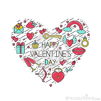The inscription Happy Valentine`s Day with symbols and black lines arranged in the shape of a heart. Vector Illustration