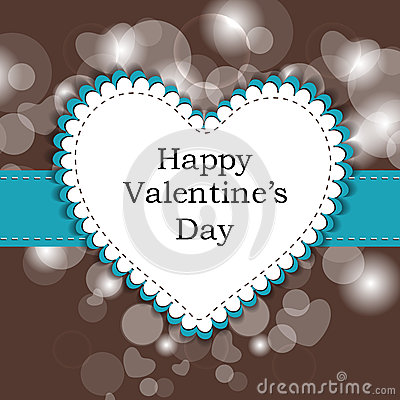 Happy Valentine s Day love card or greeting card with heart on b