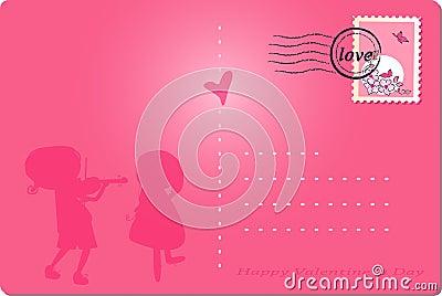 Happy valentine`s day post card