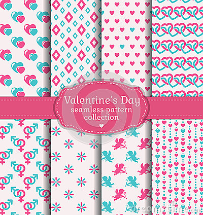 Free Happy Valentine S Day! Set Of Love And Romantic Seamless Pattern Royalty Free Stock Photos - 48469868