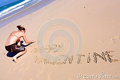 Happy Valentine, woman on beach